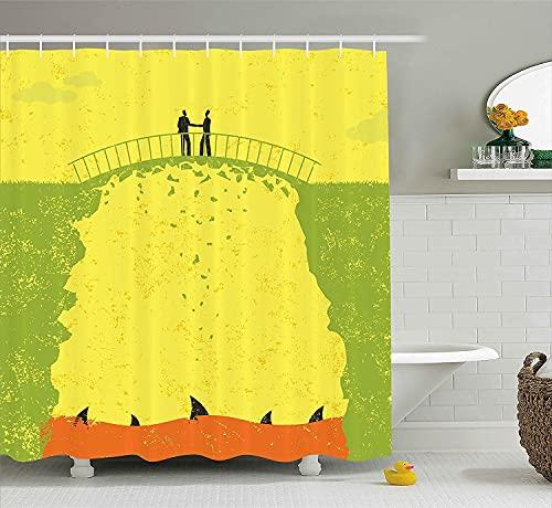 lovedomi Grunge - Cortina de ducha decorativa para dos hombres, con diseño de tiburón bajo el puente, diseño de dibujos animados, 183 x 183 cm