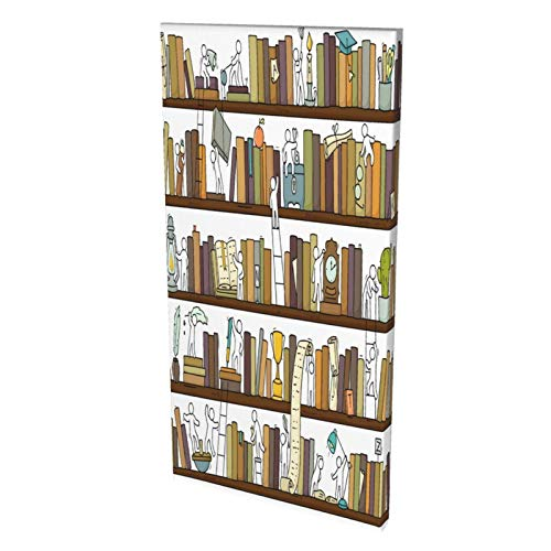 Funny Little People In Library Bookshelf Canvas Prints Wall Art Paintings Abstract Geometry Wall Artworks Pictures for Living Room Bedroom Decoration, 8x16in