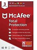 McAfee Total Protection 2021 | 3 appareils | 1 an| Antivirus, sécurité Internet, gestionnaire de mots de passe, VPN*, Protection de l'identité | PC/Mac/Android/iOS |Édition européenne| courrier