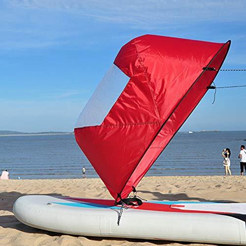 Faltbares Kajak-Segel, 106,7 cm, klares Fenster, Rudern, Bootssegel, langlebiges Wind-Paddel mit Aufbewahrungstasche für Kajak/Kanu/aufblasbare Boote, rot