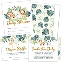 Set of 25 Safari Baby Shower Invitations, Diaper Raffle Tickets, Baby Shower Book Request Cards with Envelopes | Greenery Jungle Animal Invites for Gender Reveal Party, Boys and Girls (25)