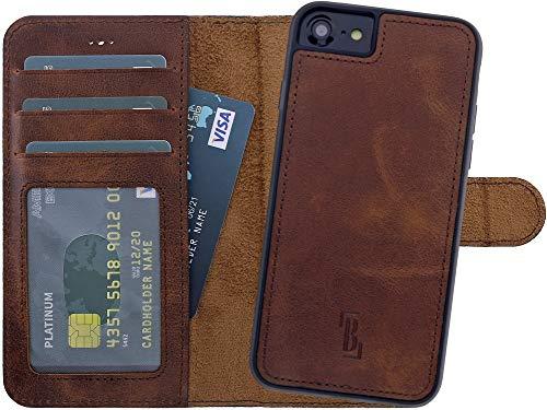 Burkley Handyhülle für iPhone 6 / 6S Leder-Hülle mit Abnehmbarer Schutz-Hülle kompatibel mit Apple iPhone 6 / 6S Case Cover - TÜV geprüfter RFID Schutz (Antik Coffee)