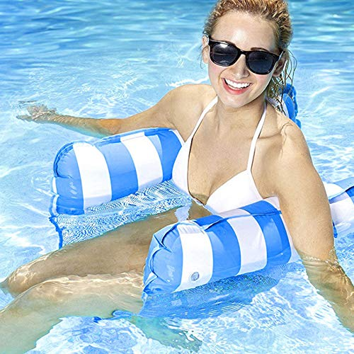 Water Hammock Inflatable Pool Floats for Adults/Kids, Portable Inflatable Water Pool Hammock, Folding Swimming Float Hammock Drifter Saddle Lounger Chair Multi-Purpose Pool Toys