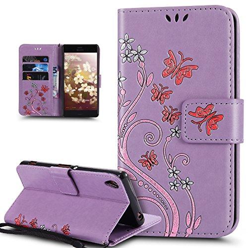 Kompatibel mit Sony Xperia Z3 Hülle,Sony Xperia Z3 Schutzhülle,Bunte Gemalt Prägung Schmetterlings Blumen PU Lederhülle Flip Hülle Cover Ständer Wallet Tasche Hülle Schutzhülle für Sony Xperia Z3,Lila