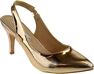 Coshare Women's Fashion Patent Embellished Front Low Heel Pumps