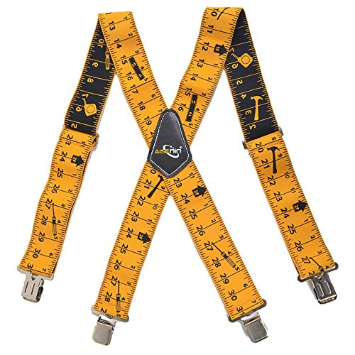 "Tape Measure Suspenders for Men 2"" Wide X-Back Work Suspenders Elastic Adjustable (Yellow)"