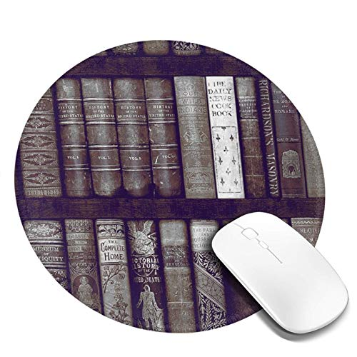Gaming Mouse Pad, Round Mouse Mat Pad, Non-Slip Rubber Base Mousepad for Laptop, Computer Pc Office, 7.9 Inch, Instant Library Bookcase