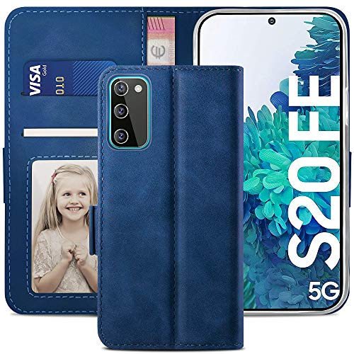 YATWIN Cover per Samsung Galaxy S20 FE, Flip Custodia Portafoglio in Pelle Premium Slot, Interno TPU Antiurto, Supporto Stand, Stile Libro e Chiusura Magnetica per Samsung Galaxy S20 FE Case - Blu