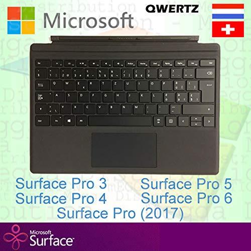 Microsoft Surface Pro Type Cover Switzerland/Luxembourg Swiss/Lux QWERTZ Backlit Keyboard, Black - Compatible with Surface Pro 3, Pro 4, Pro (2017), Pro 5, Pro 6 and Pro 7