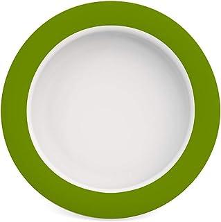 Ornamin Teller mit Kipp-Trick Ø 20 cm grün   Spezialteller mit Randerhöhung für selbstständiges Essen   Esshilfe, Melamin,...