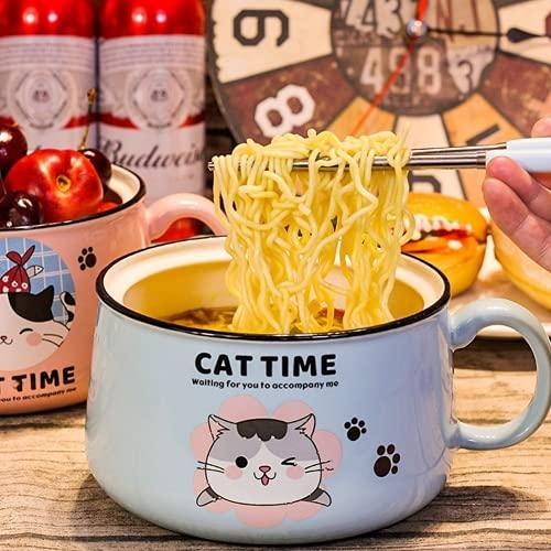 Tenbroman Ceramics Instant Noodle Bowl, Creative Large Capacity Instant Noodle Soup Bowl with Lid, Cute Kitty Pattern Fruit Salad Bowl for Dorm Home, 1Pcs (Blue)