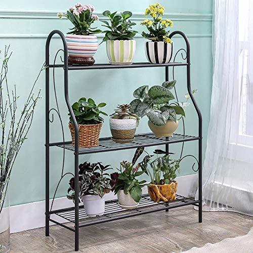 FANMENGY Titular flor La base de metal, la plataforma de la flor de 3 niveles, compartimiento de almacenamiento for la estantería de baño, for interior y exterior (color: negro, tamaño: 73 x 24 x 83 c