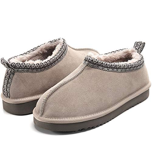 Womens Leather Moccasin Slippers, Suede Faux Fur Lined Anti-Skid Slip On Cozy House Shoes, Ladies Fluffy Fuzzy Winter Indoor Outdoor Bootie Boot Gray Size 6