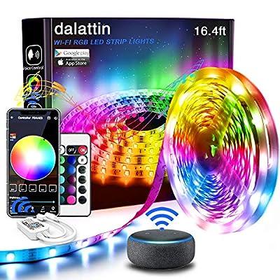 Led Lights,dalattin Smart Led Strip Lights 16.4ft,WiFi App Control Color Changing Led Strip Lights Music Sync with 24Key Remote