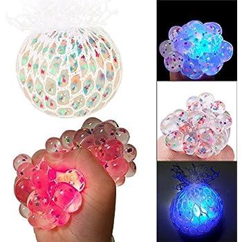 CestTT Mesh Squishy Ball Joue Le soulagement du Stress pressant Le Ballon de Raisin en Caoutchouc Souple pour Les Enfants Adultes Anti-Stress de TheBigThumb Paillettes Bleu en Poudre