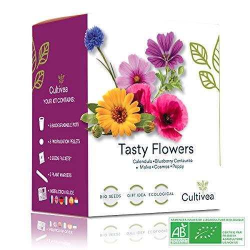 Cultivea - Mini kit pronto a coltivare fiori commestibili rari - Semi francesi ecologici e biologici al 100% - Giardino, Decora e Gusto - Idea regalo (Calendula, Mirtillo, Malva, Cosmo, Poppy)