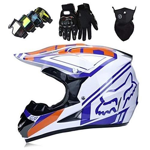 Cascos Integrales Infantil Azul blanco brillante con Guantes Gafas Máscara, Aprobado DOT Conjunto Casco Motocross Motocicleta Adultos Casco protector Offroad Dirt Bike con Diseño FOX