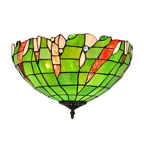 GUOGEGE Tiffany plafondlampen, glas in lood pastorale groene stijl plafondlamp Decor woonkamer slaapkamer balkon hal XT106