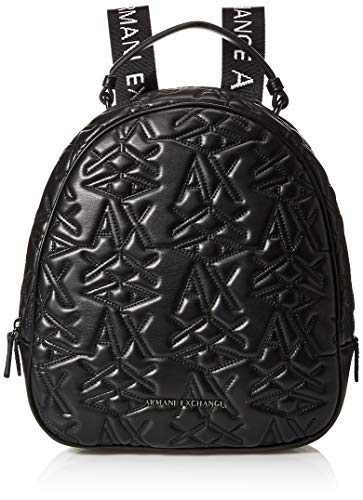 ARMANI EXCHANGE Logo Texture Backpack - Borse a zainetto Donna, Nero (Black), 10x10x10 cm (W x H L)