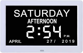 """Digital Calendar Day Clock,8"""" Extra Large Vision IPS Clock Dementia Wall Clock Non-Abbreviated Day & Month,for Seniors Vis..."""