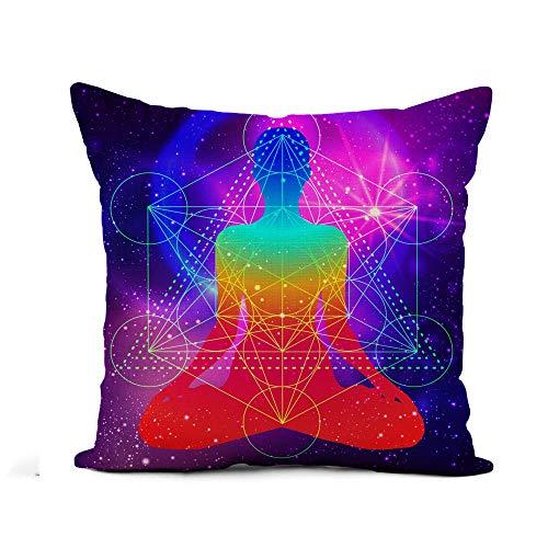 N\A Throw Pillow Cover Silueta Humana Meditando Haciendo Yoga Metatrons Cube Flor Funda de Almohada Decoración para el hogar Funda de Almohada de Lino de algodón Cuadrada Funda de cojín