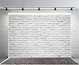 Yeele 10x6.5ft Retro White Brick Wall Backdrop Vinyl Fabric Vintage Paint Coating Wall Photography Background Party Booth Banner Newborn Adult Portrait Wallpaper Photo Video Shooting Studio Props