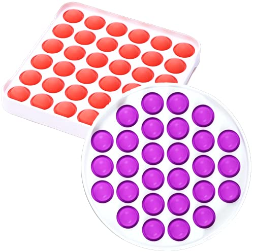 NVN Bubble Sensory Push Pop Fidget Toy for Kids and Adults, Autism and Special Needs Stress Reliever, Anti-Anxiety Food Grade Silicon Squeeze Sensory Toy Set of 2, Sky Purple + Medium Red