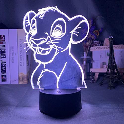 Cadeaux 3D Night Illusion Lamp Pour Simba Lion King Convient Pour Chambre Enfants Anniversaire Cadeau Saint Valentin - Noir Base_Simba Buste