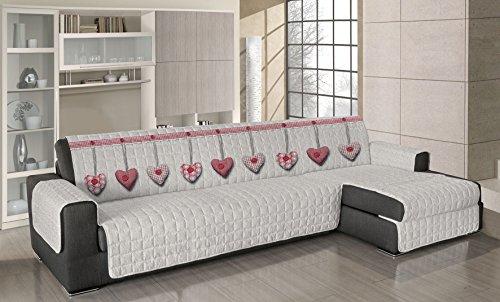 Smartsupershop Housse de canapé avec méridienne matelassée – Cœurs rouges – Dimensions 240 – 245 cm (d'accoudoir à accoudoir) – Applicable aussi bien à droite qu'à gauche – Produit fabriqué en Italie