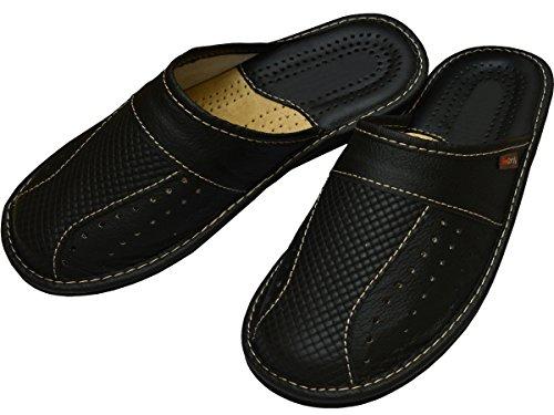 Big Size Zapatillas Cuero para Hombres de Gran tamaño cómodas Zapatillas Tallas Grandes 47 48 49 50 (50 EU, Negro)