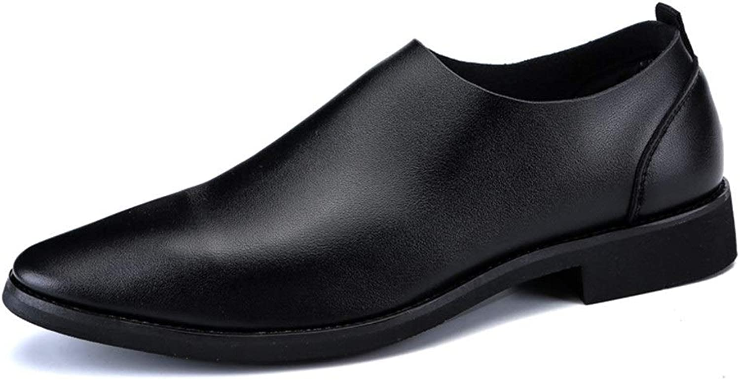 blåY QYH Ins Popular Casual Oxford skor for män män män Genuine läder Business Dress bröllop mode Loafers Anti -Slip Flat Low Top Slip Round Toe  noll vinst