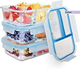 Globel Shree Enterprise 3 Compartment Rectangular Glass Lunch Tiffin Box with Clamp Plastic