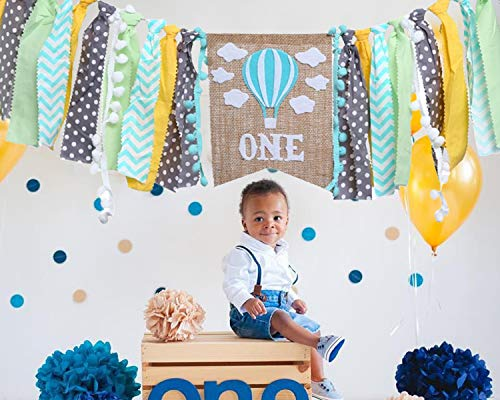 High Chair Banner For 1st Birthday - Hot Air Balloon Decorations For 1st Birthday Boy Gifts - Gray Blue Yellow Green Cake Smash For Banner - High Chair Garland For First Birthday (BANNER FOR BOY)