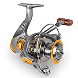 Fishing Reel, Spinning Fishing Reels Handle Parts Freshwater Double Bearing Light Smooth Casting 5.2:1Light Weight Ultra Smooth Powerful for Rock Freshwater Saltwater Fishing (Gray Gold, DC7000)