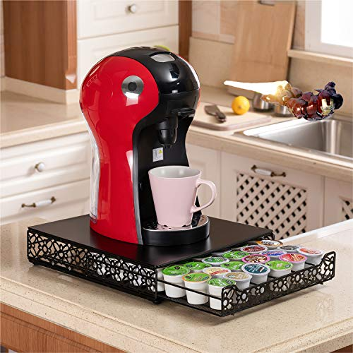 Flagship K Cup Keurig Coffee Pods Storage Organizer Drawer, K-cup Metal Coffee Pods Holder with Slide Out Drawer Large Capacity for Home Countertop Kitchen (42Pods)