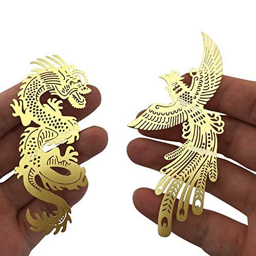 Amupper - Segnalibro in ottone con nappa, motivo: drago e fenice