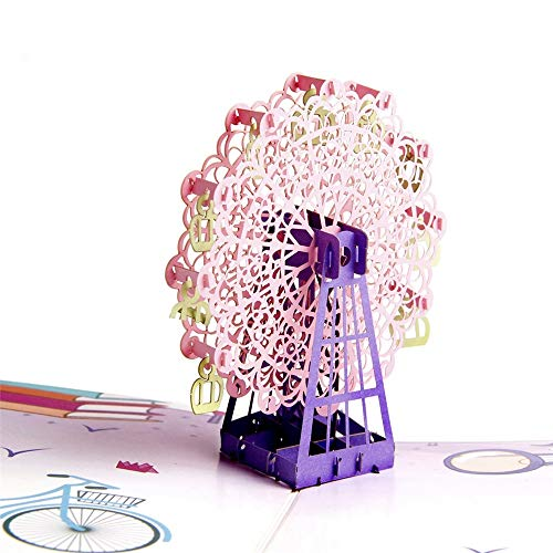 Paper Spiritz Color Printing Ferris Wheel Kids Birthday Cards Handmade Congratulations Cards and Envelopes Customized Origami Paper Cards and Envelope