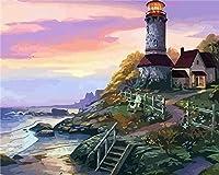 数字で描くDiy絵画数字で描くアクリル絵の具手作りの絵の具海辺の灯台風景色で数字の家の装飾