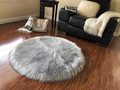 Alfombra de piel de oveja sintética muy suave, redonda (4 pies, gris)