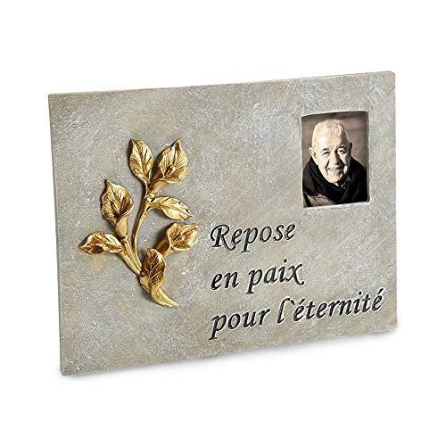 TERRE JARDIN Plaque funéraire avec Photo Interchangeable