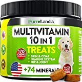 10 In 1 Dog Multivitamin Treats - Essential Dog Vitamins for Hip & Joint Support + Digestion, Skin & Coat, Heart, Immune Health | With Hemp Oil, Kona Berry, Green Lipped Mussel - 170 Soft Chews