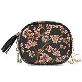 QMIN Bolso bandolera japonés, diseño de flor de cerezo, bolso pequeño, bolso de mano, organizador de piel sintética con correa de cadena y borlas para mujeres y niñas