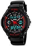 Fanmis Military Analog Digital Display Multifunction Dual Time Alarm Stopwatch Backlight 50M Waterproof Sports Watch Red