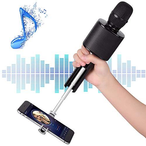 Microfono Bluetooth Karaoke, Mbuynow TWS Microfono Wireless, Bastone Selfie per Supporta Smartphone, Doppio Altoparlante, Cantare Insieme con gli Amici in Macchina, Casa, Campeggio, Festa (Nero)