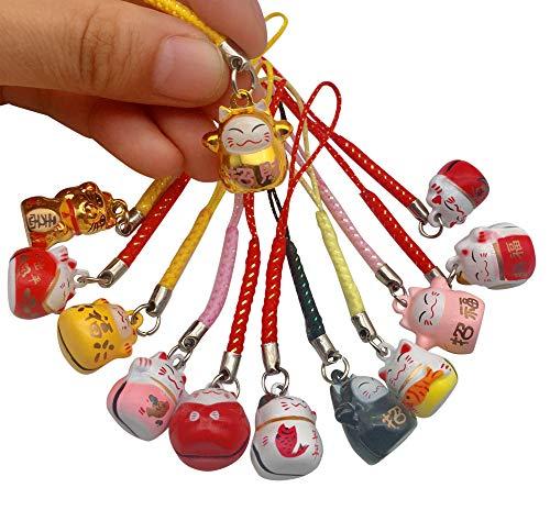EatingBiting 12PCS Random Fortune Lucky Japanese Beckoning Cat Maneki Neko Keyring Keychain Key Rings, Fengshui Fortune Lucky Cat Kitty Key Chains Keyrings Keychain good health mascot Avoid evil