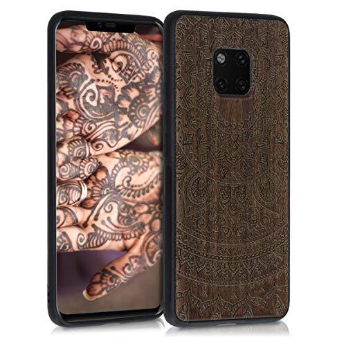 kwmobile Funda Compatible con Huawei Mate 20 Pro - Funda de Madera de Nogal Sol hindú marrón Oscuro