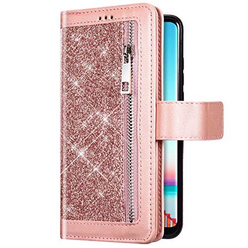 Uposao Kompatibel mit Samsung Galaxy A51 Handyhülle Leder Bling Glitzer Reißverschluss Multifunktionale Schutzhülle 9 Kartenfächer Brieftasche Flip Case Bookstyle Handytasche,Rose Gold