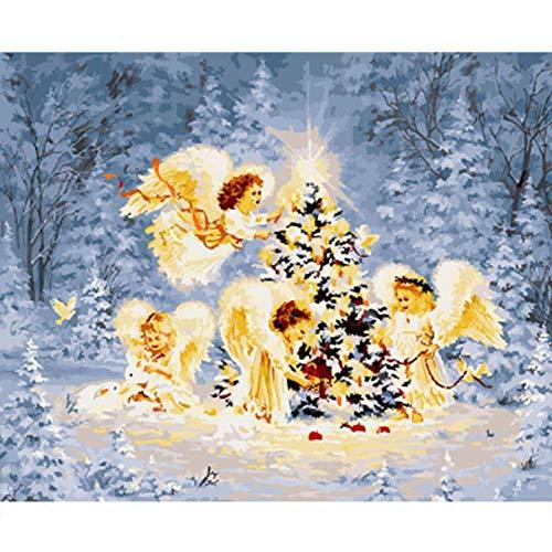 chenyike Malen nach Zahlen für Erwachsene und Kinder auf Leinwand DIY Ölgemälde Enthält Acrylfarben und Pinsel Home Haus Dekor - Kleiner Engel Weihnachtsbaum 16x20 Zoll/40x50 cmOhne Rahmen