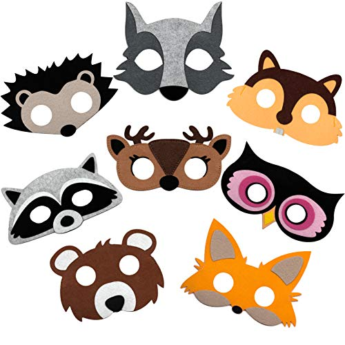 Woodland Animal Masks for Kids Party, 8 Assorted Felt Masks, Great for Forest Themed Christmas, Halloween, Birthday Parties Supplies & Novelty Dress-up