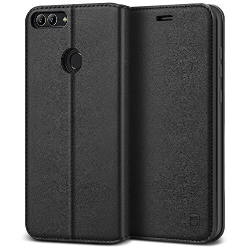 BEZ Hülle für Huawei P Smart Hülle, Handy Hülle Kompatibel für Huawei P Smart Tasche, Handyhülle Hülle Schutzhüllen aus Klappetui mit Kreditkartenhaltern, Ständer, Magnetverschluss, Schwarz